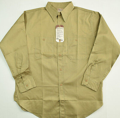 Vtg 1950s NOS Smco Sanforized Cotton Work Shirt 16 Made in USA New Deadstock