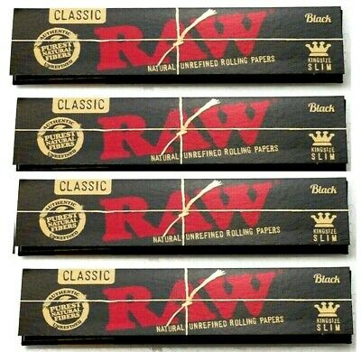 4 Packs Raw Black King Size Slim Rolling Papers Natural Unrefined *BEST