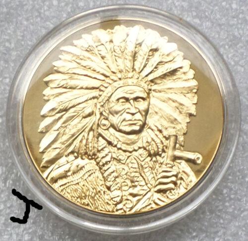 "24K Gold Bronze Art Medal Native American Indian ""Red Tomahawk"" Henry H. Cross"