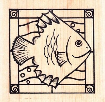 Stained Glass Fish (STAINED GLASS FISH - Wood Mounted Rubber Stamp - Inca / Personal Impressions)