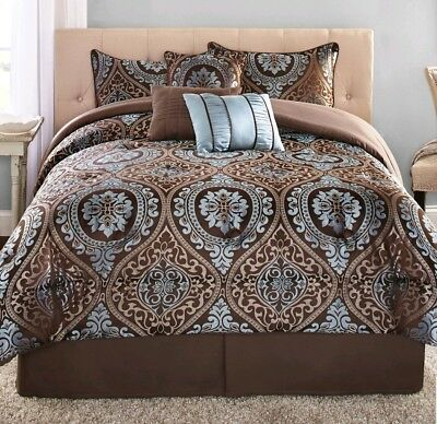 - 7-Piece Comforter Bedding Queen Decorative Pillow Set Bed in a Bag Brown