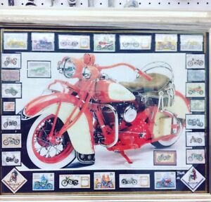 Indian Motorcycle picture with collectible MC Stamps