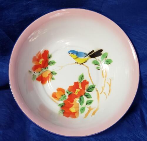 "Vintage Lucky Elephant Enamel Hand Painted 8"" Bowl"