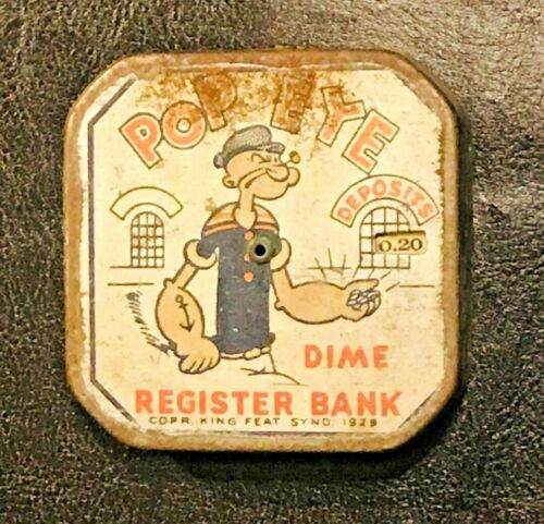 Vintage 1929 Popeye`s Dime Register Bank Very Rare