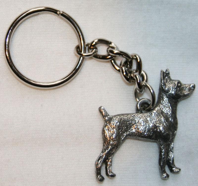 RAT TERRIER Dog Fine Pewter Keychain Key Chain Ring