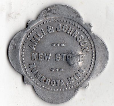 ZUMBROTA MINNESOTA AMLI & JOHNSON 10¢ MERCHANT GOOD FOR TRADE TOKEN