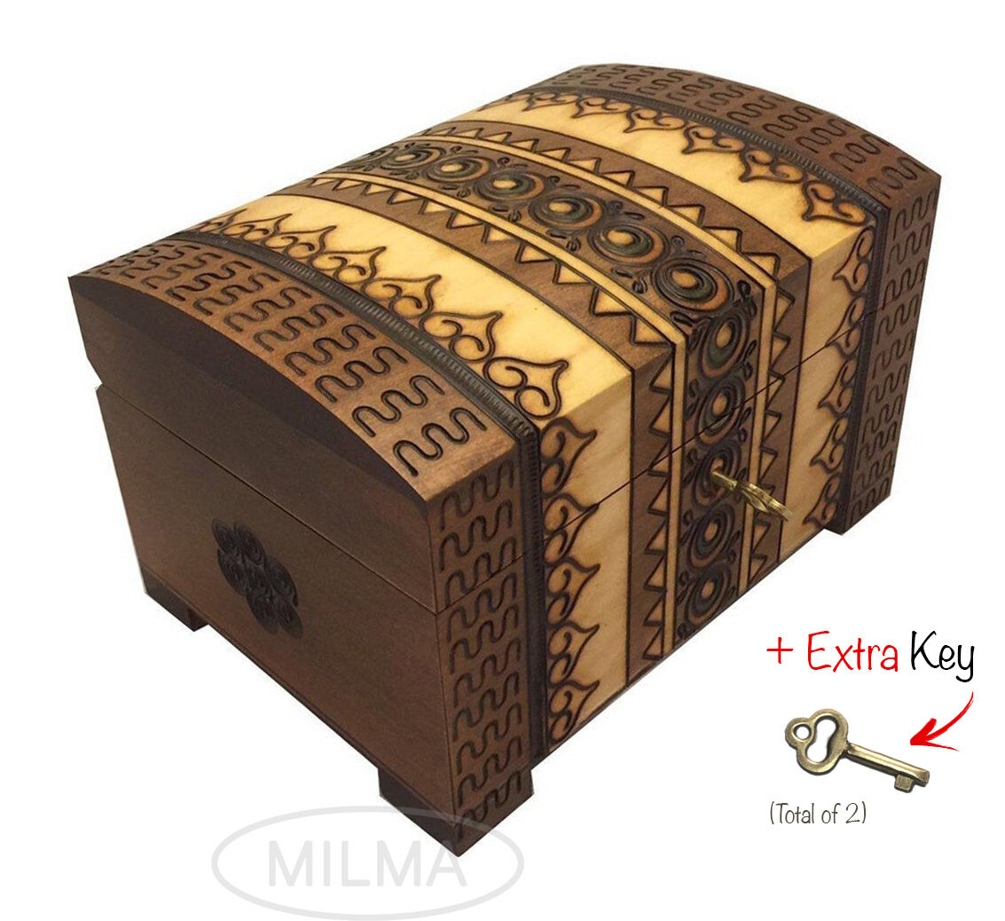 Polish Handmade Wooden Chest Linden Wood Jewelry Keepsake...