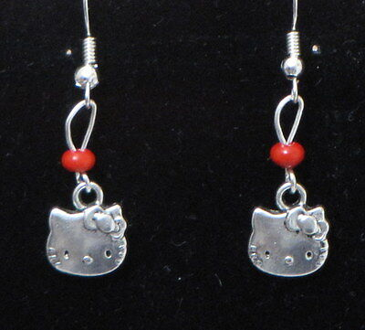 Cat / Kitty Dangling Earrings (C1) - You pick the Bead color..