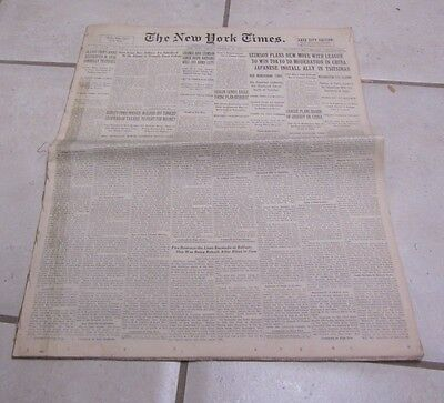 Nov 20 1931 New York Times Newspaper Charles Lindbergh Chiang Kai-Shek Football