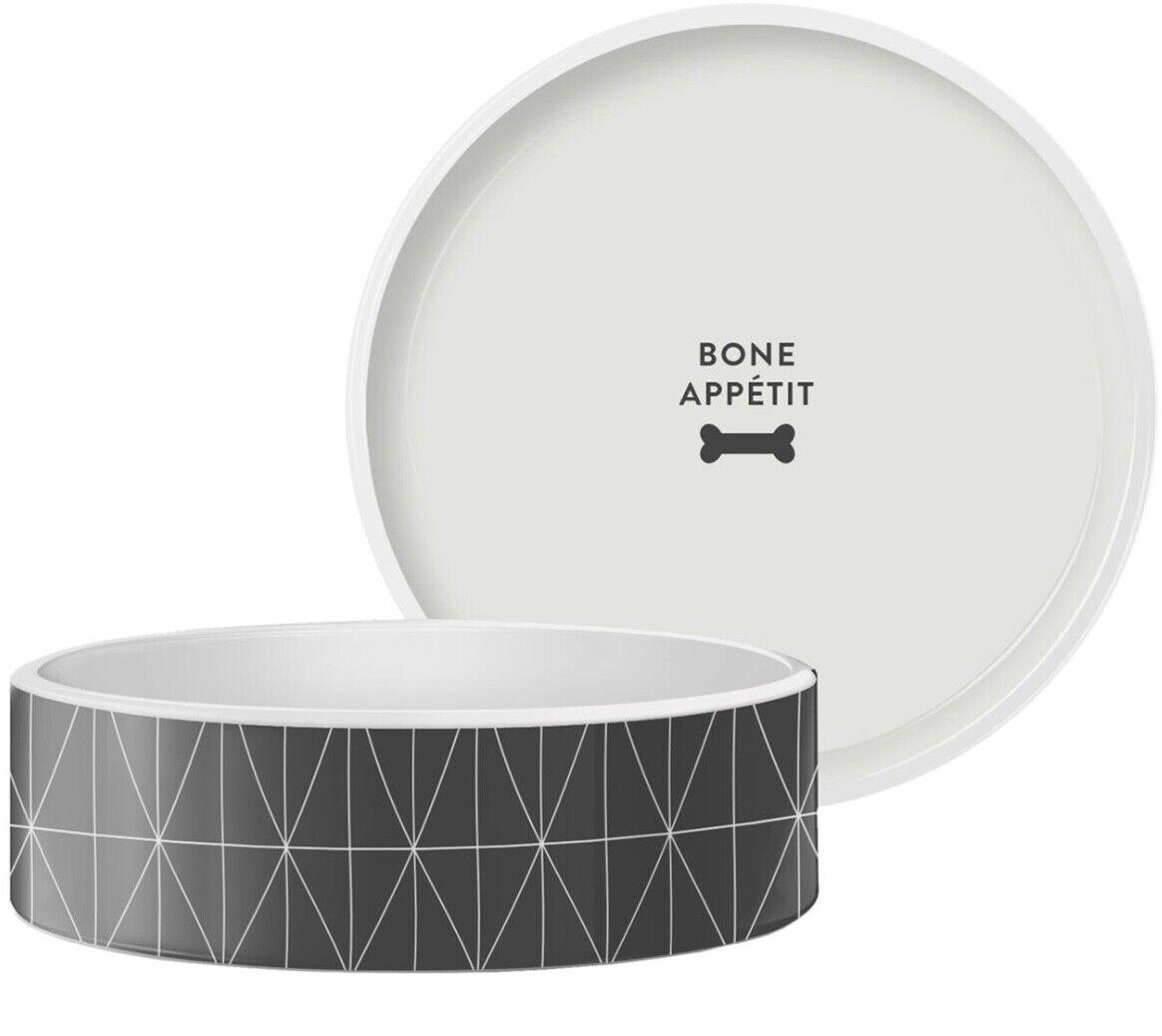 Grey Geo Diamond Pet Food Bowl, Small