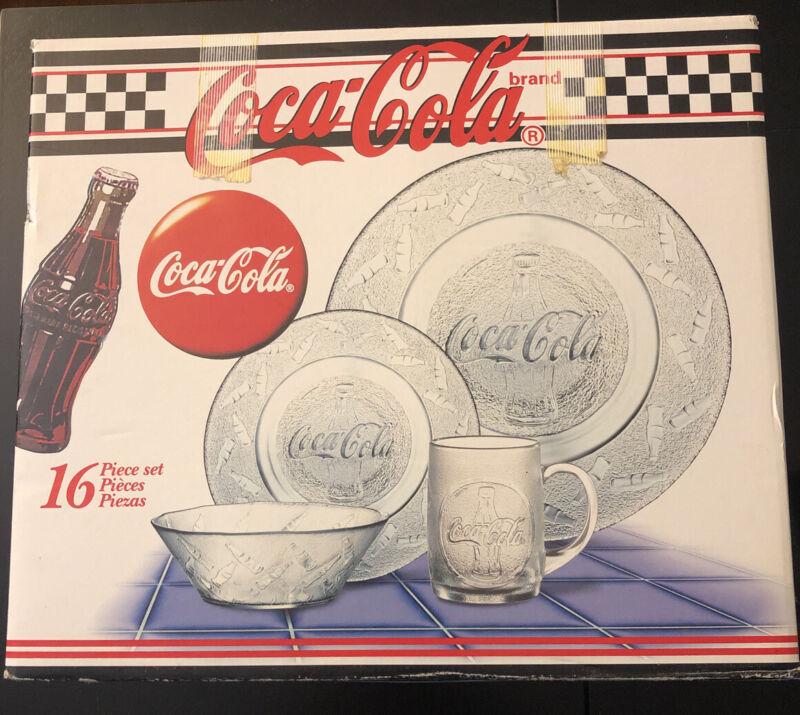 Vintage Coca Cola Glass Plates Dinner Set Of 16