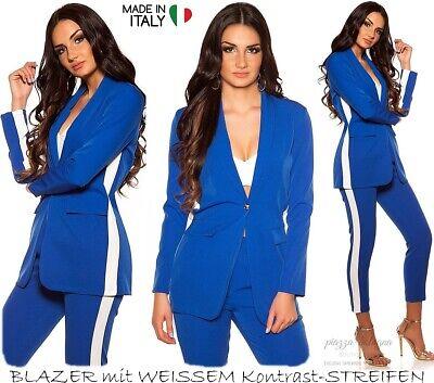 NEU 36 - 38 ♡ sommerleichter Blazer weißer Kontrast-Streifen Italy ♡ Blau S-M