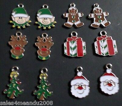 12 Enamel Christmas Tree Elf Gift Reindeer Santa Charms Jewelry Making - Elf Reindeer