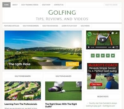 Golfing Tips Niche Blog Website Business For Sale W Auto Updating Content