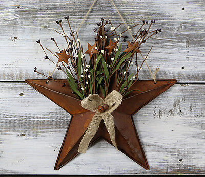 Barn Star Decor (Barn Star Basket Pip Berries Burlap Rusty Tin Primitive Wall Decor 15)