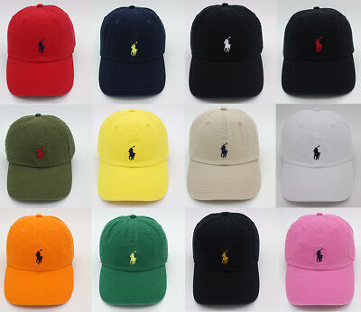 RL Polo Men Classic Embroidered Pony Cotton Chino Baseball Cap Adjustable Hat US