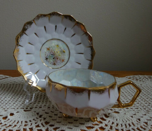 Royal Sealy Lusterware 3 Footed Teacup & Saucer Lavender Honeycomb Iridescent
