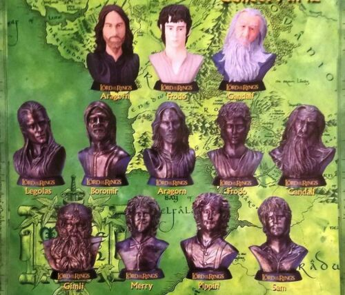"""Lord Of The Rings Bust Figure Collection Full Set of 12 Toy Vending 2"""" Capsules"""