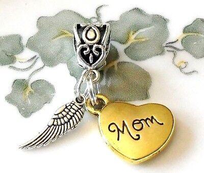 Memorial loss memory Mom European bracelet dangle charm pendant angel wing Mum](Mom Charm Bracelet)