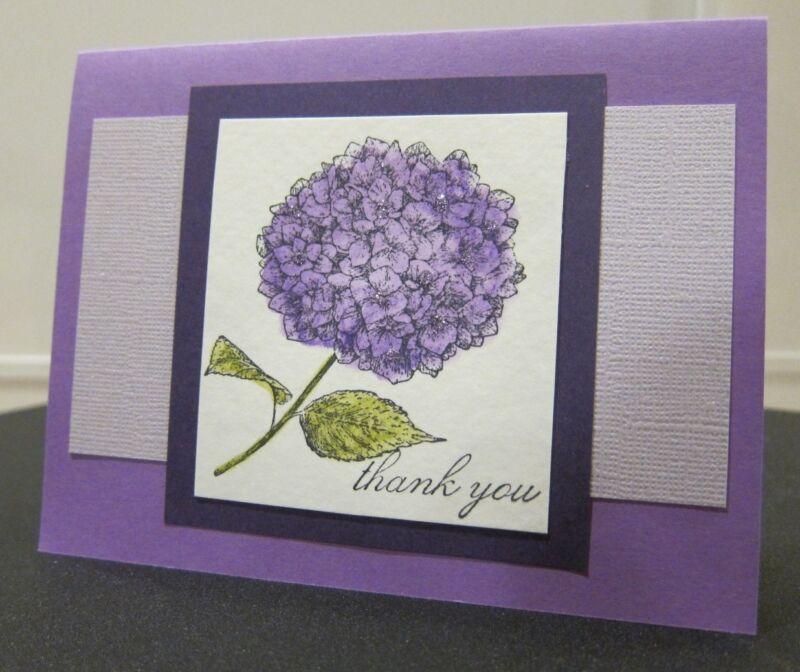 "DIY Stampin Up ""Thank You"" Elegant Hydrangea Flower Handmade Card Kit- 4 Cards"