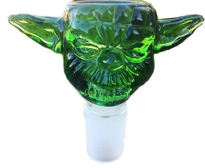 (14mm Green Yoda Design Glass Bowl Male Joint for Bongs Water Hookahs Accessorie)