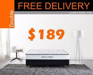 FREE DEL - DOUBLE SIZE 3 ZONE POCKET SPRING BED MATTRESS New Farm Brisbane North East Preview
