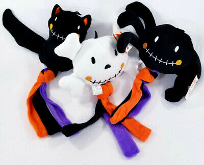 Tassel Tug Skull Spider Bat Squeaker Soft Plush Dog Toys Halloween Puppy B62