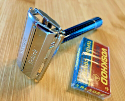 Vintage SCHICK KRONA twist to open TTO double edge DE safety razor black tip