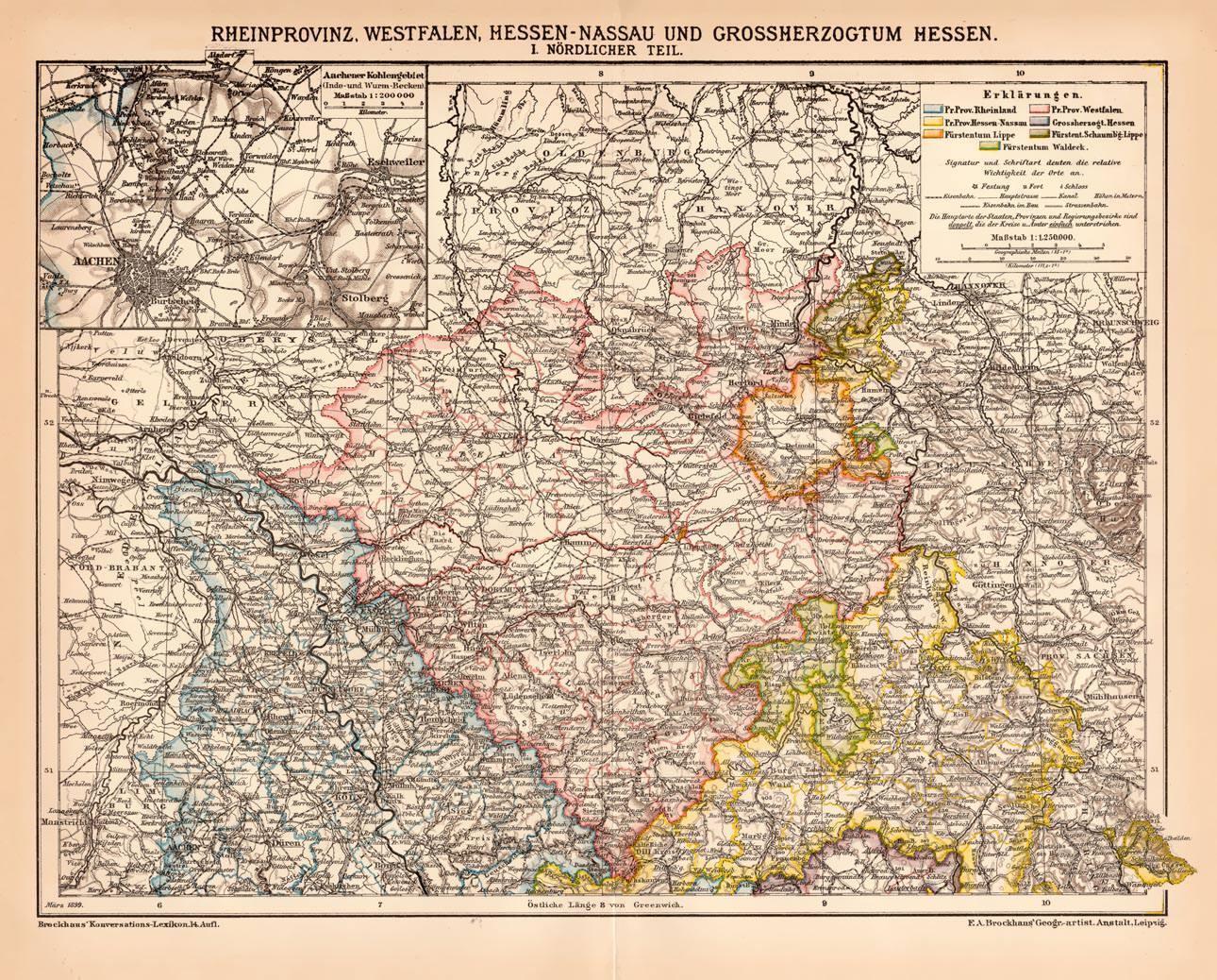 Rhineland Westphalia Hesse Northern Part Germany Lithograph 1892