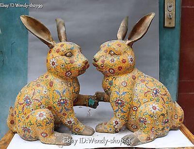 48cm Huge Cloisonne Enamel Gild Fengshui Zodiac Year Rabbit Animal Statue Pair