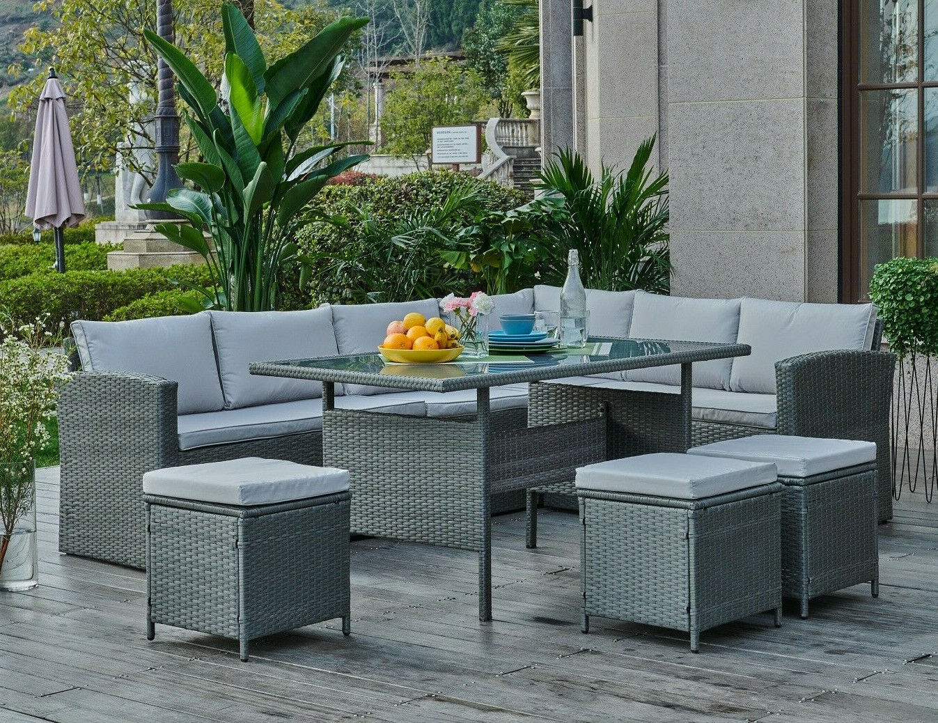 Garden Furniture - Black or Grey Corner Group Sofa Set with Stools PE Rattan Garden Patio Furniture