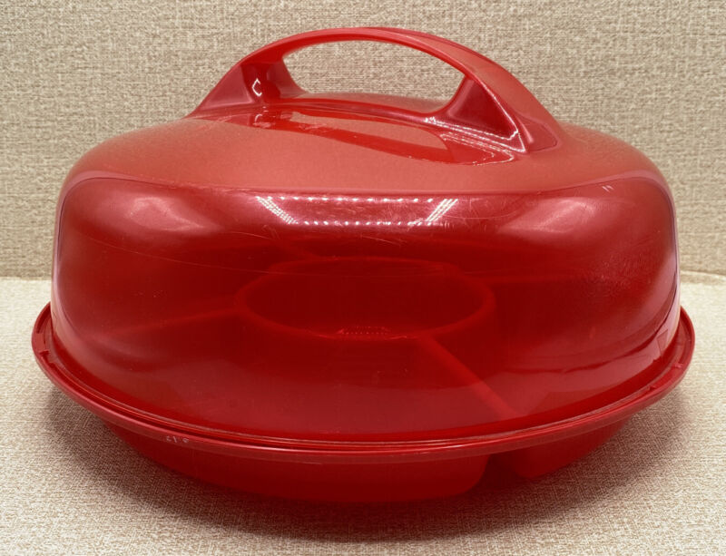 Red Packerware 2005 Veggie Tray Packer Ware with Cover Chips Dip Snacks Pickles