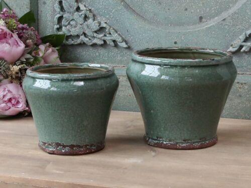 Blumentopf Hoch Keramik Shabby chic Metall Henkel Antik Garten Dekoschale