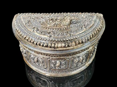 "Antique Southeast Asia Sterling Silver Betel Nut 4"" Wide Repousse Half Moon Box"