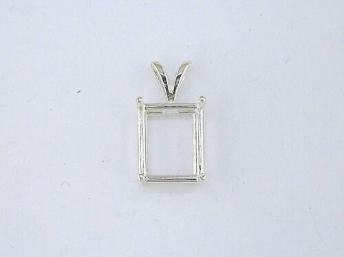 Emerald Cut 4 Prong Pendant Setting Sterling Silver