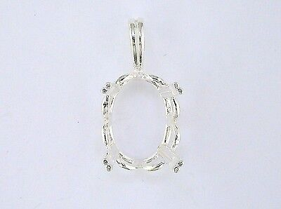 Oval Crown Pendant Pendant Setting Sterling Silver