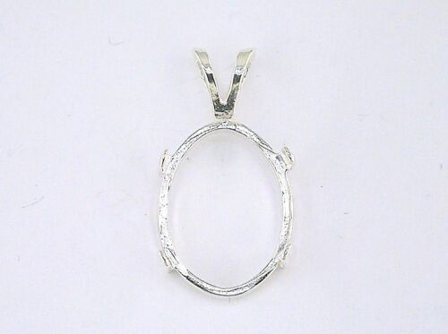 Oval Cabochon Pendant Setting Sterling Silver
