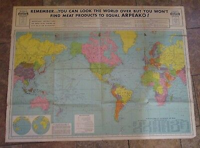 "H.M. Goshen WWII Era World Map 44"" x 33"""