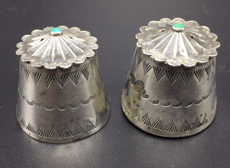 Navajo Native American Antique Sterling Silver Turquoise Salt & Pepper Shakers