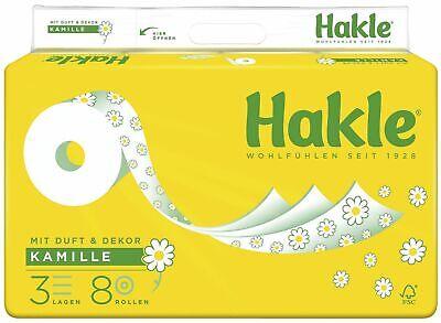 Toilettenpapier Hakle Plus mit Kamille 3-lagig weiß mit Dekor 8 Rollen a 150 Bl.