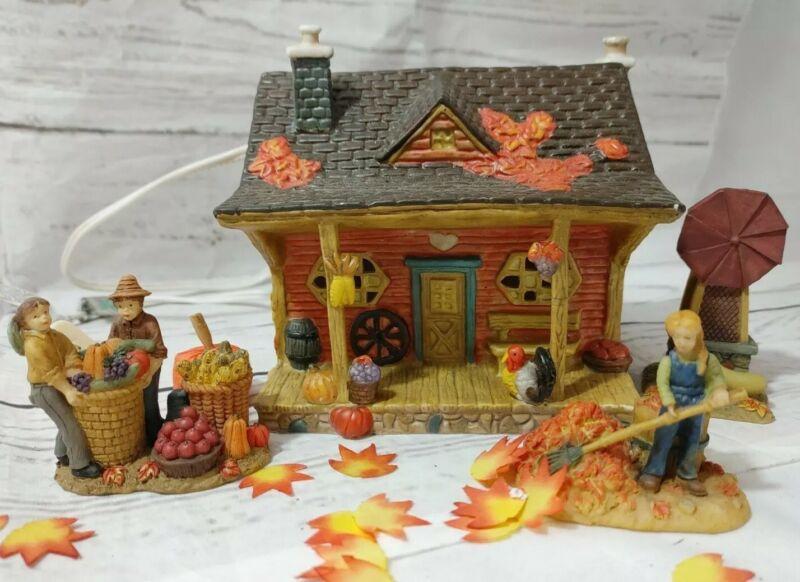 Vintage Harvest Bounty 5 Piece Porcelain Lighted House Set Thanksgiving #25086