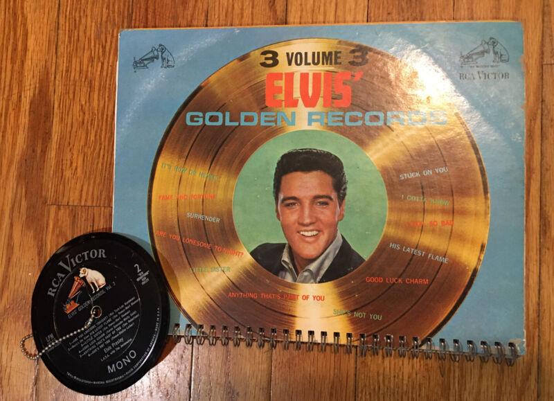 Elvis' Golden Hits Volume Three Spiral Notebook Record Album And Keychain