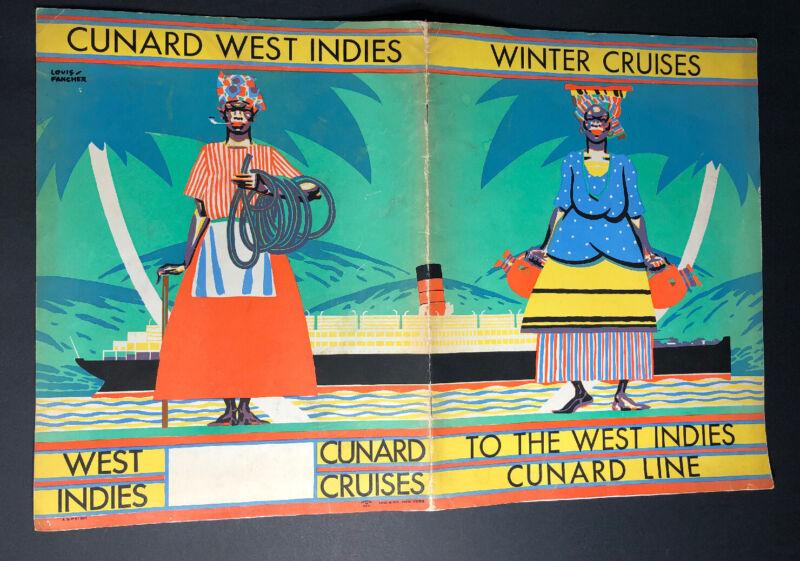 Cunard Cruise Ship West Indies 1931 Travel Brochure Book Art Deco Louis Fancher