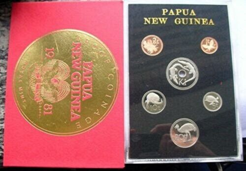 1981 PAPUA NEW GUINEA - OFFICIAL PROOF SET (6) - TOEA & KINA - ROYAL MINT -RARE