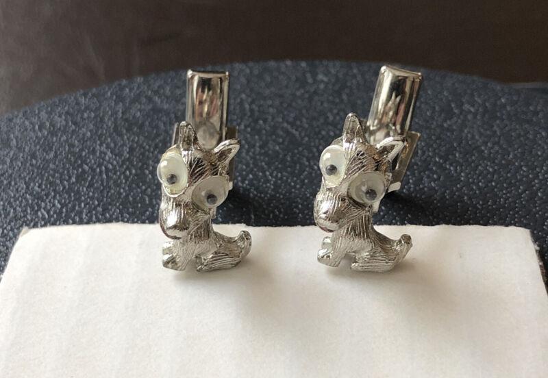 Vtg Judy Lee Cuff Links - Silver Tone Googly Eyed Dogs