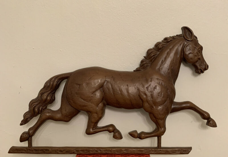 """Vintage 1965 Syroco Running Horse Weather Vane Wall Sculpture Molded Plaque 22"""""""