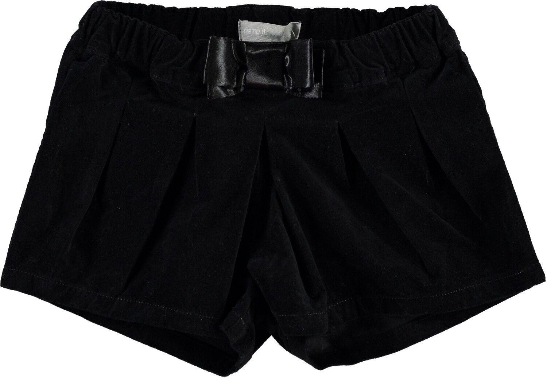 NAME IT mini Mädchen Shorts Nitpansy schwarze kurze Hose Velours festlich