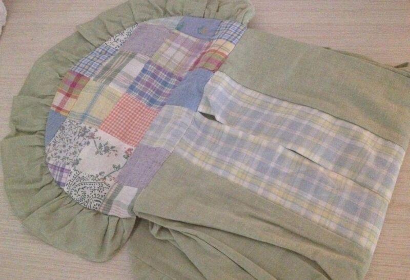 Kidsline Sienna Patch Sage DIAPER STACKER heirloom quilt patches plaid green GUC