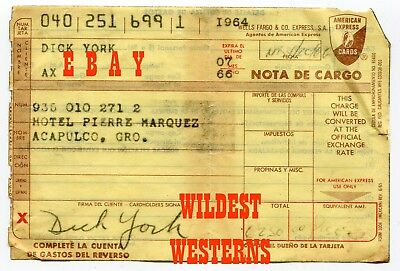 BEWITCHED SIGNED Carbon Copy Receipt DICK YORK American Express Vintage 1964