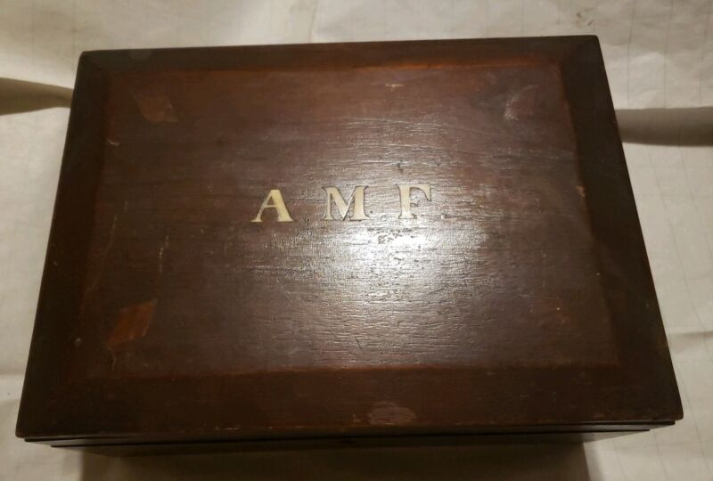 Antique Victorian Sea Sewing Trinket Box Southern Confederate Veteran Photo AMF